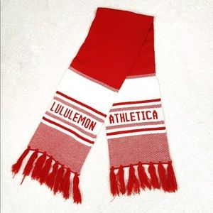 Lululemon Cheer Me Knit Scarf Unisex Red & White